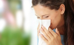 Teen woman with allergy or cold; Shutterstock ID 61331170