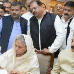 सुब्रत रॉय सहारा के साथ राज्यसभा नामांकन करने पहुंचीं जया बच्चन