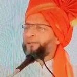कर्नाटक चुनाव: ओवैसी ने पहनी भगवा पगड़ी, JDS के लिए मांगे वोट